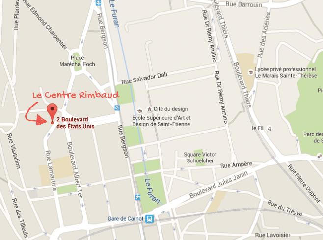 Emplacement du nouveau Centre Rimbaud sur Google Map